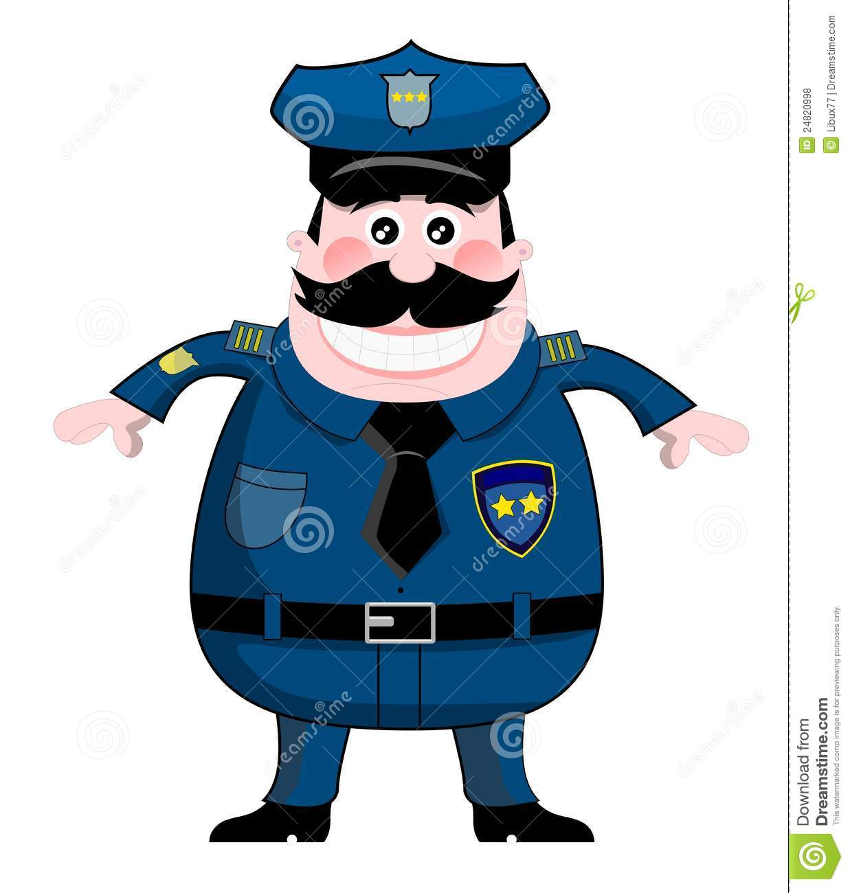 Cartoon policeman in uniform isolated on white background. You can ...