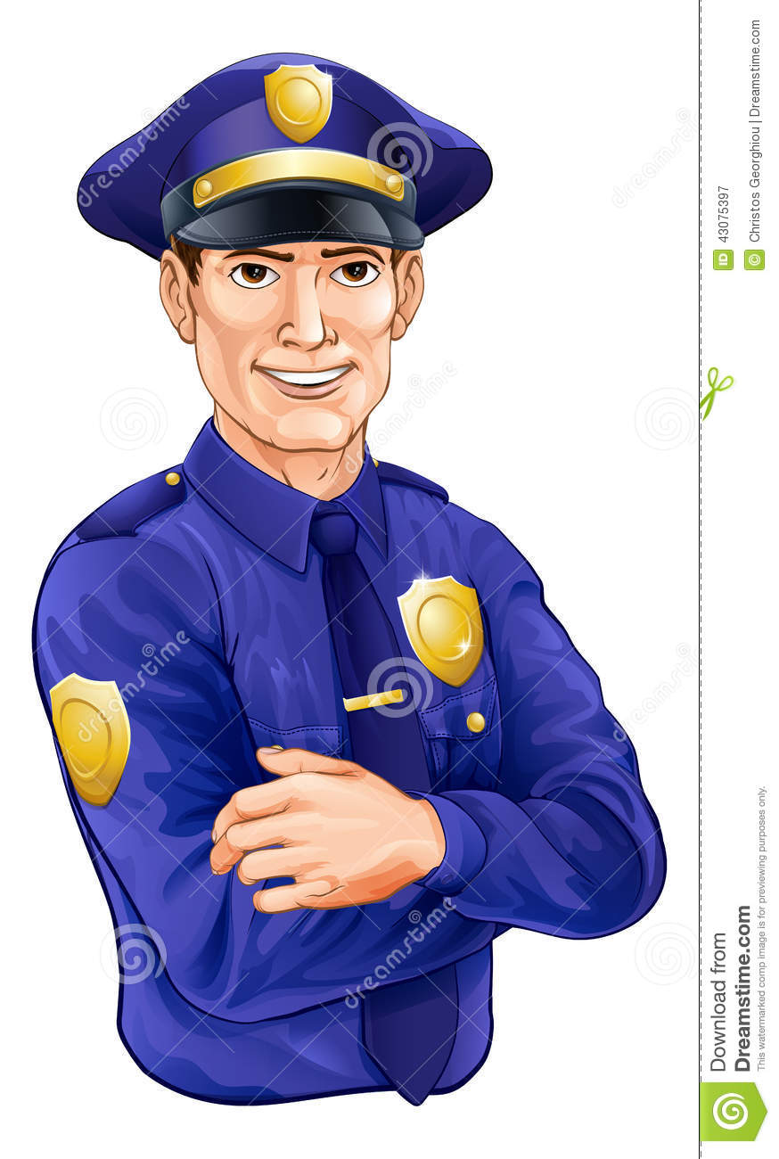 happy handsome standing police officer policeman character with his ...