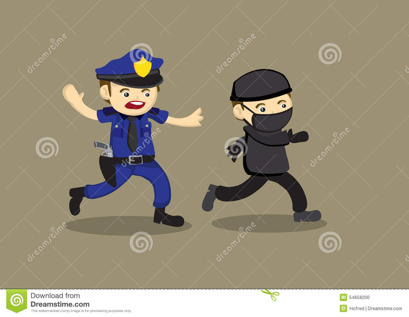 Policeman Chase Thief Vector Cartoon Illustration Stock ... Z Table Chart