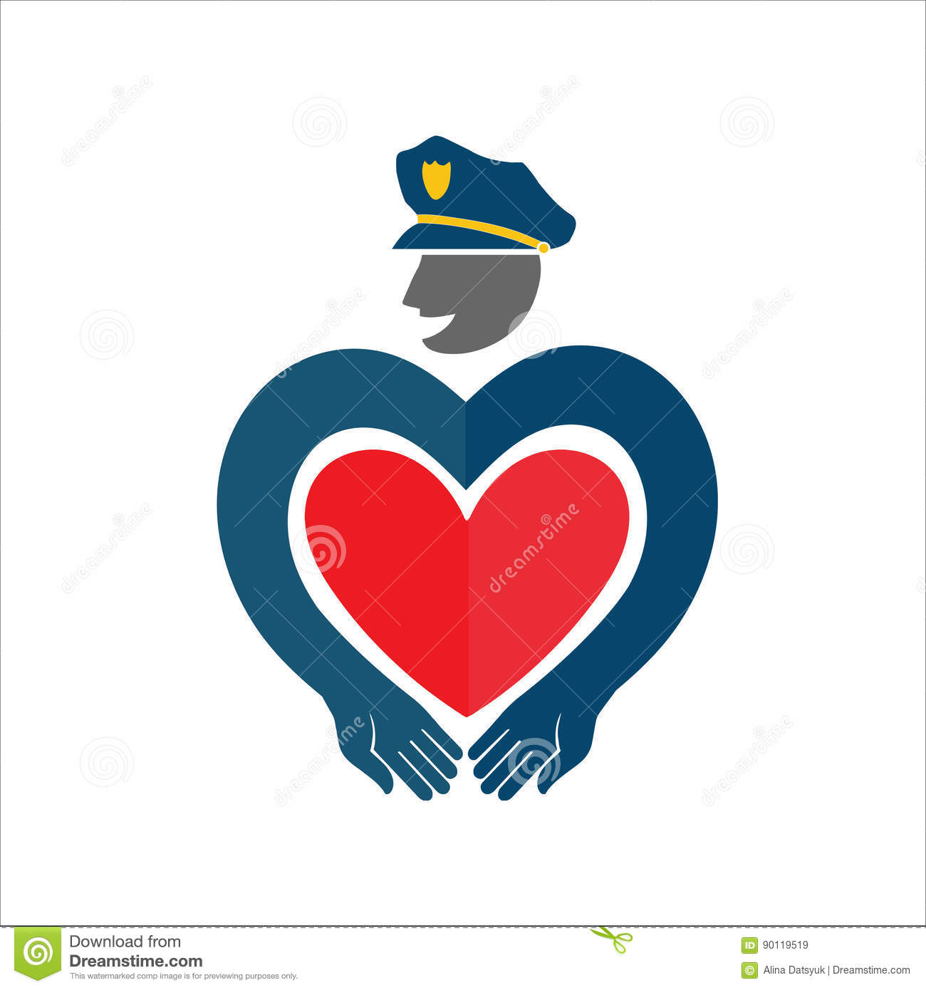 Policeman The Cop With The Heart Stock Image Image Of Male
