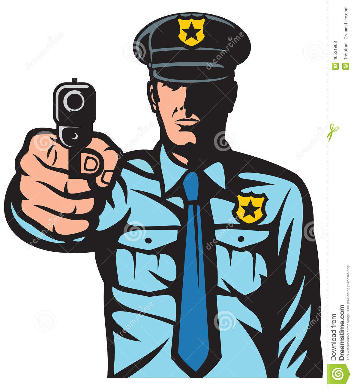 Policeman pointing a gun stock photo. Image of attack ...