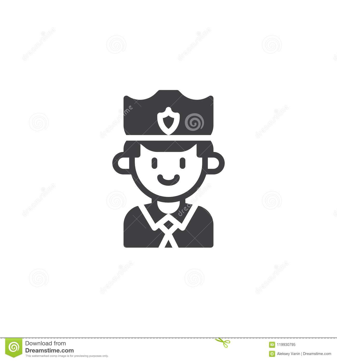 Policeman Vector Icon Stock Vector Illustration Of Security 119930795