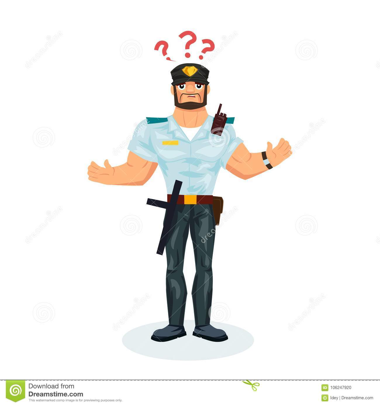 policeman with equipment the man is confused confused stock