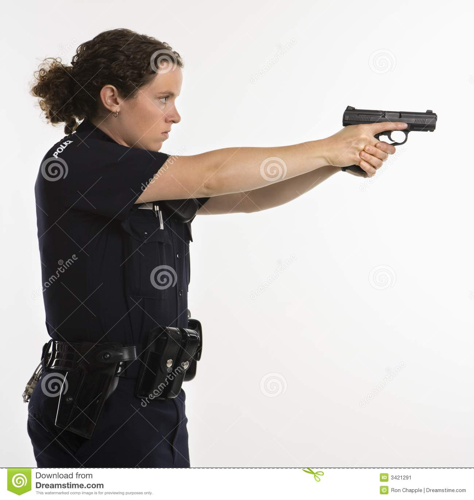 Policewoman aiming gun. stock image. - 82.6KB