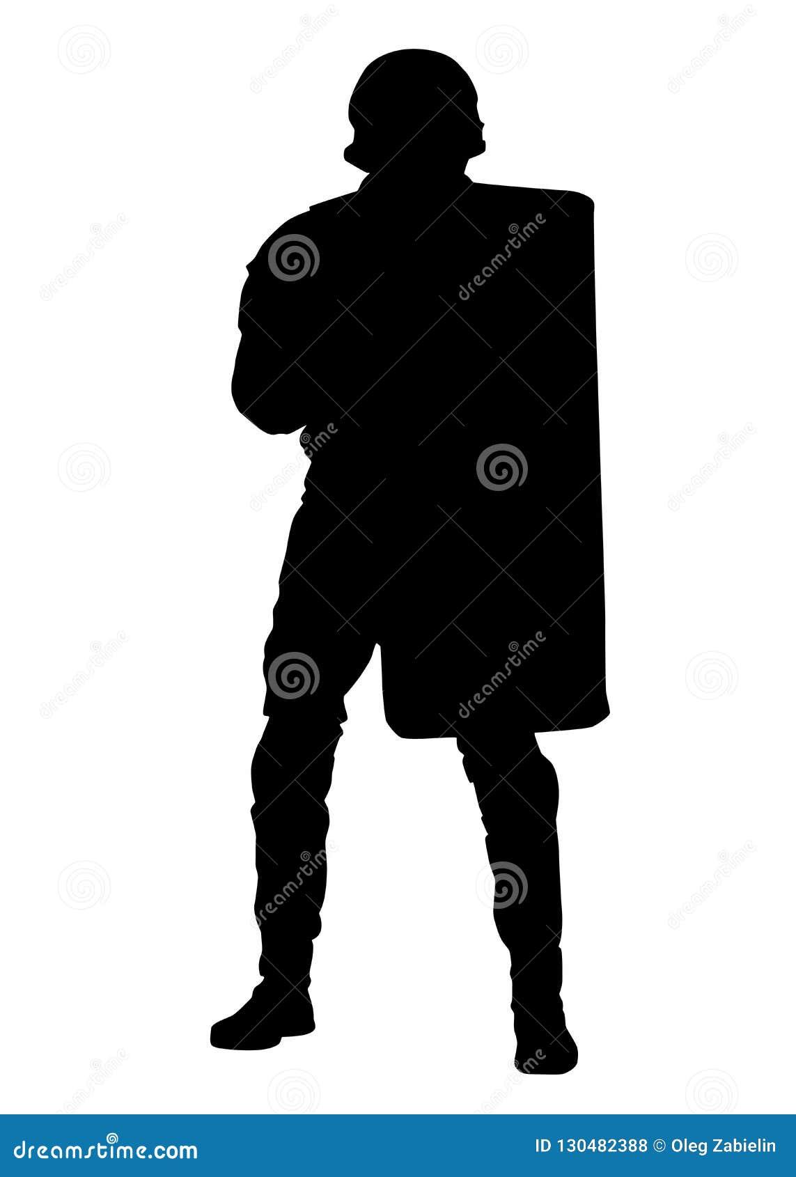 Policier avec l anti silhouette de vecteur de bouclier d émeute