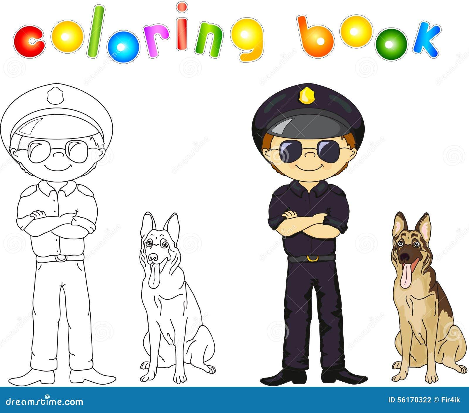 Coloriage Chien De Garde.Policier Dans L Uniforme Et Le Chapeau Noirs Avec Le Chien De Garde
