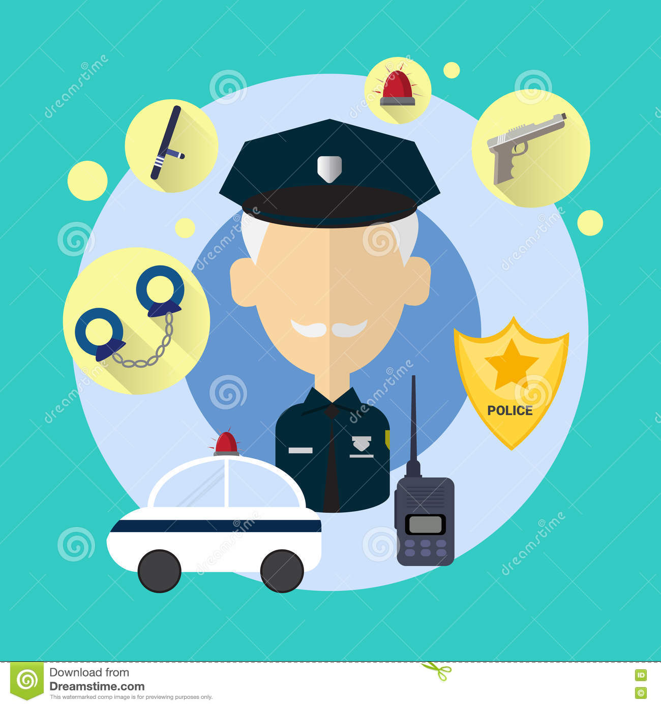 Policier Senior Man Icon