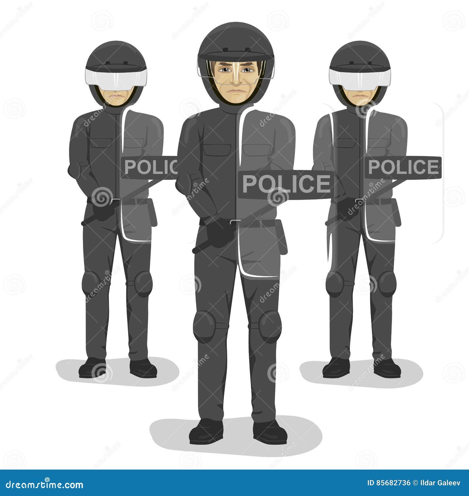 Policjant drużyna z umundurowaniem bojowym i hełmami