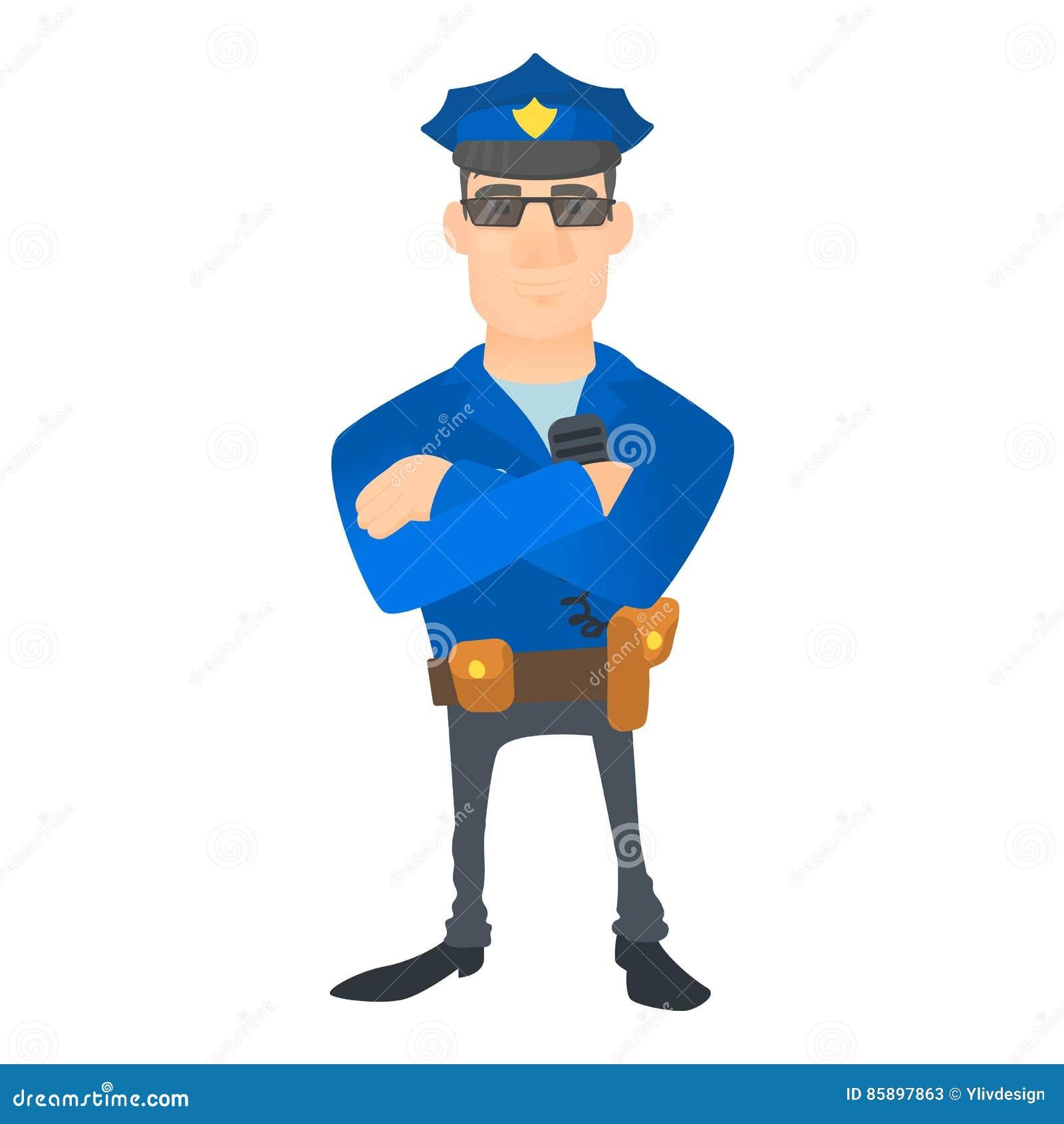 Policjant ikona, kreskówka styl