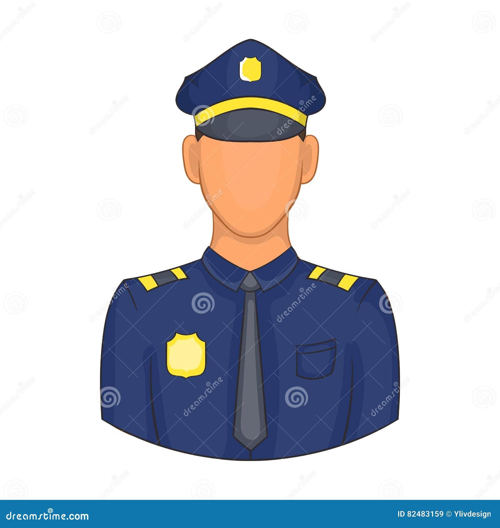 Policjant ikona w kreskówka stylu