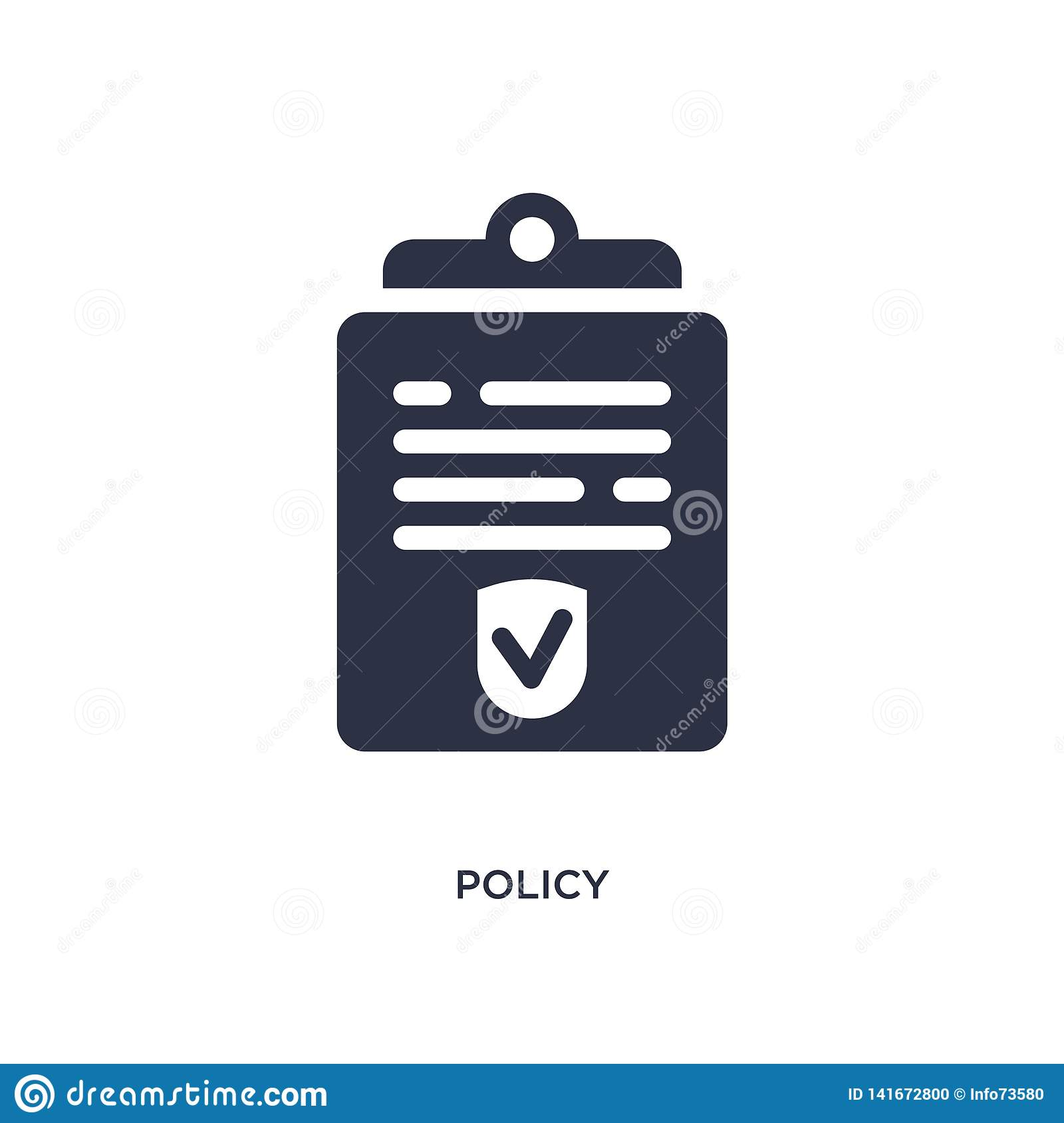 policy icon on white background. Simple element illustration from law and justice concept