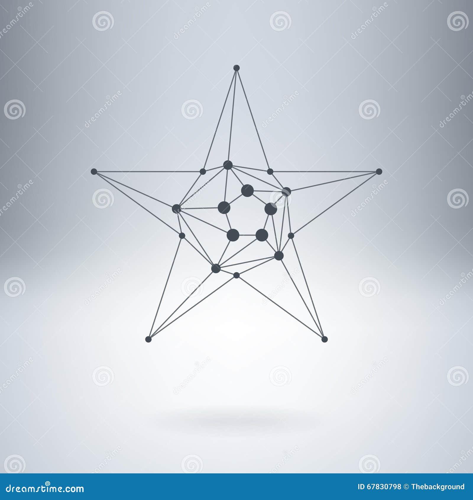 Poligonalna gwiazda, Nowożytny elegancki logo z kropkami lowpoly Projekt el