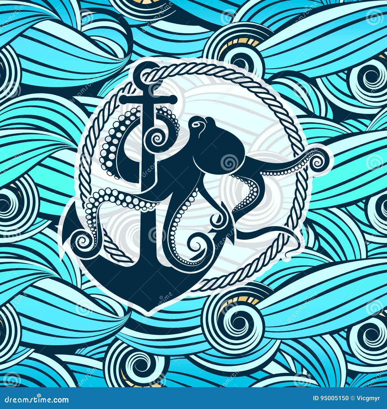 Polipo Contro Lo Sfondo Delle Onde Stilizzate Del Mare Illustrazione