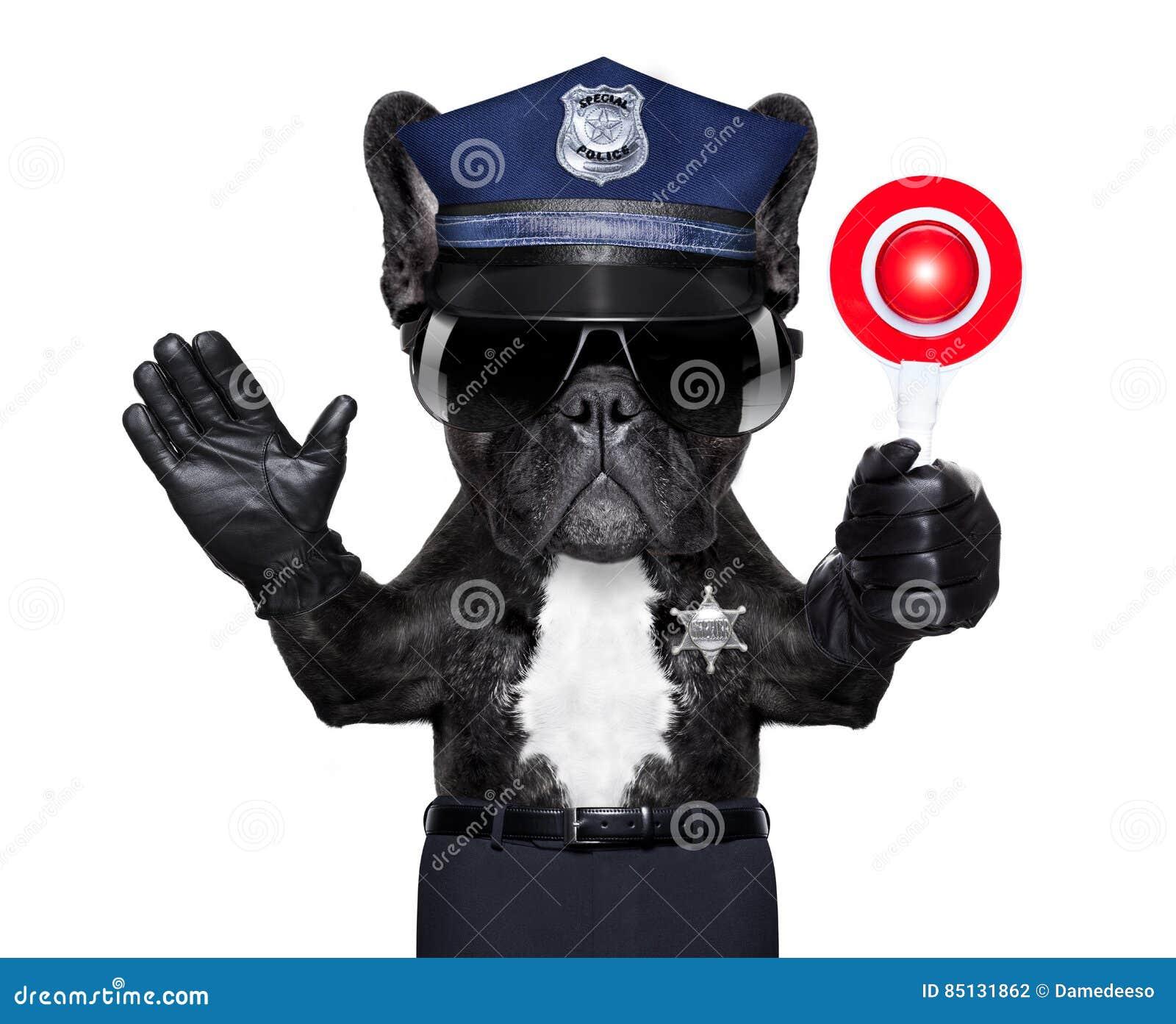 Polis med stopptecknet