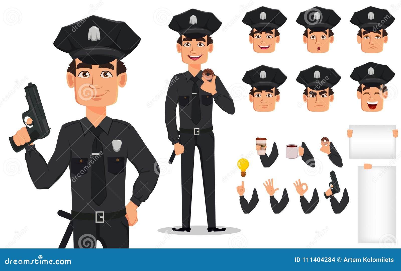 Polis polis Packe av kroppsdelar och sinnesrörelser