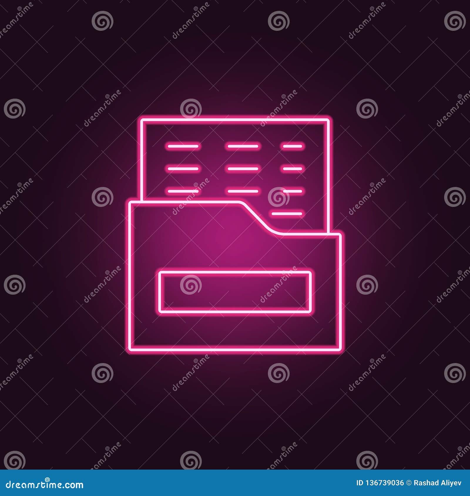 Polisdossiersymbol Beståndsdelar av brotts- utredning i neonstilsymboler Enkel symbol för websites, rengöringsdukdesign, mobil ap