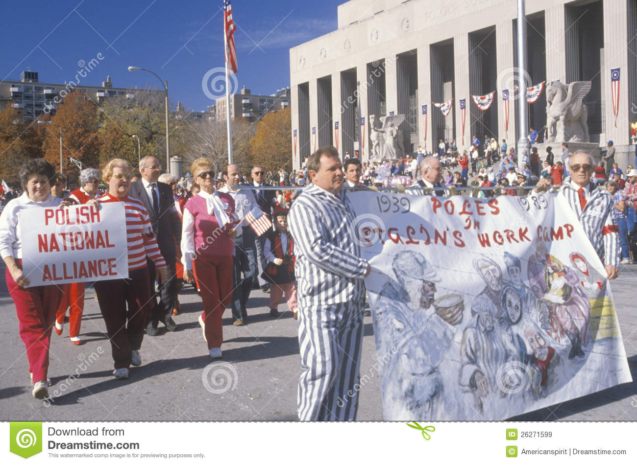 Polish American marchers editorial stock image  Image of