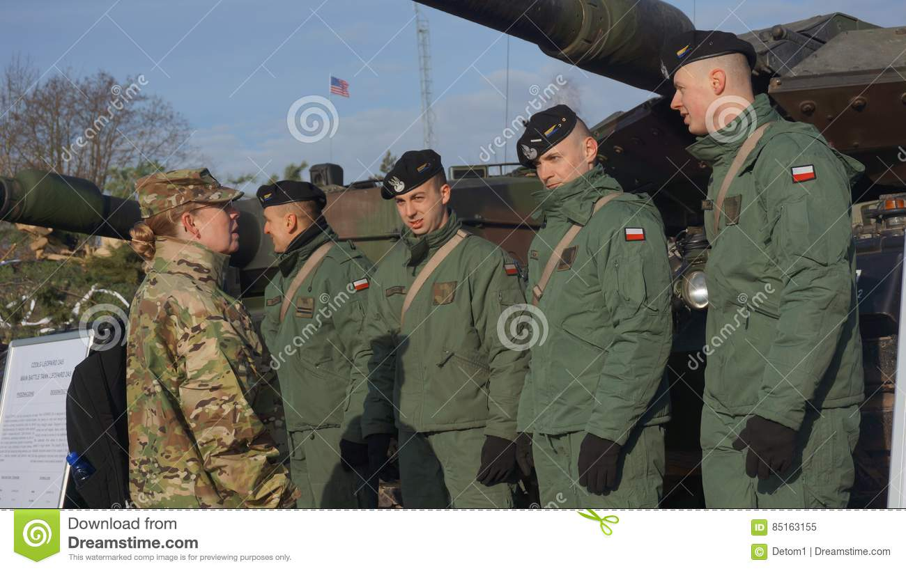 Polish and American soldiers in Zagan Poland
