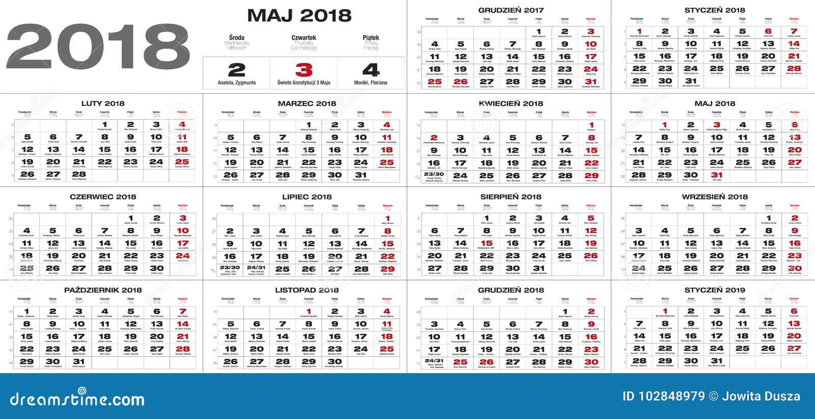 Polish Calendar For 2018 Stock Vector. Illustration Of