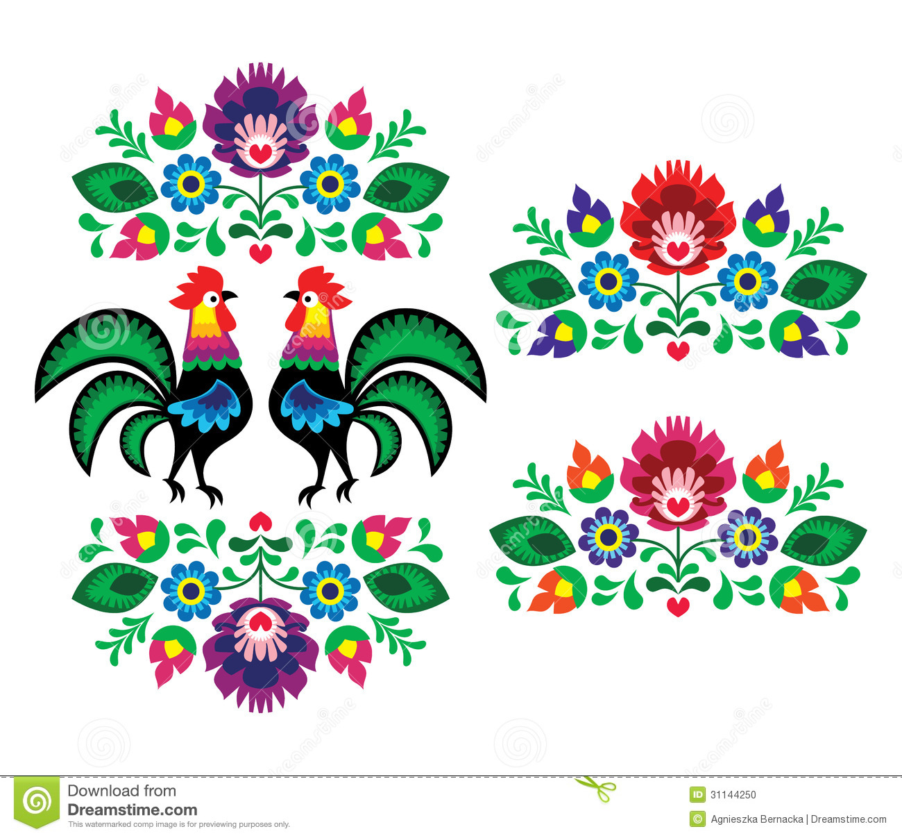 Polish ethnic floral embroidery with roosters