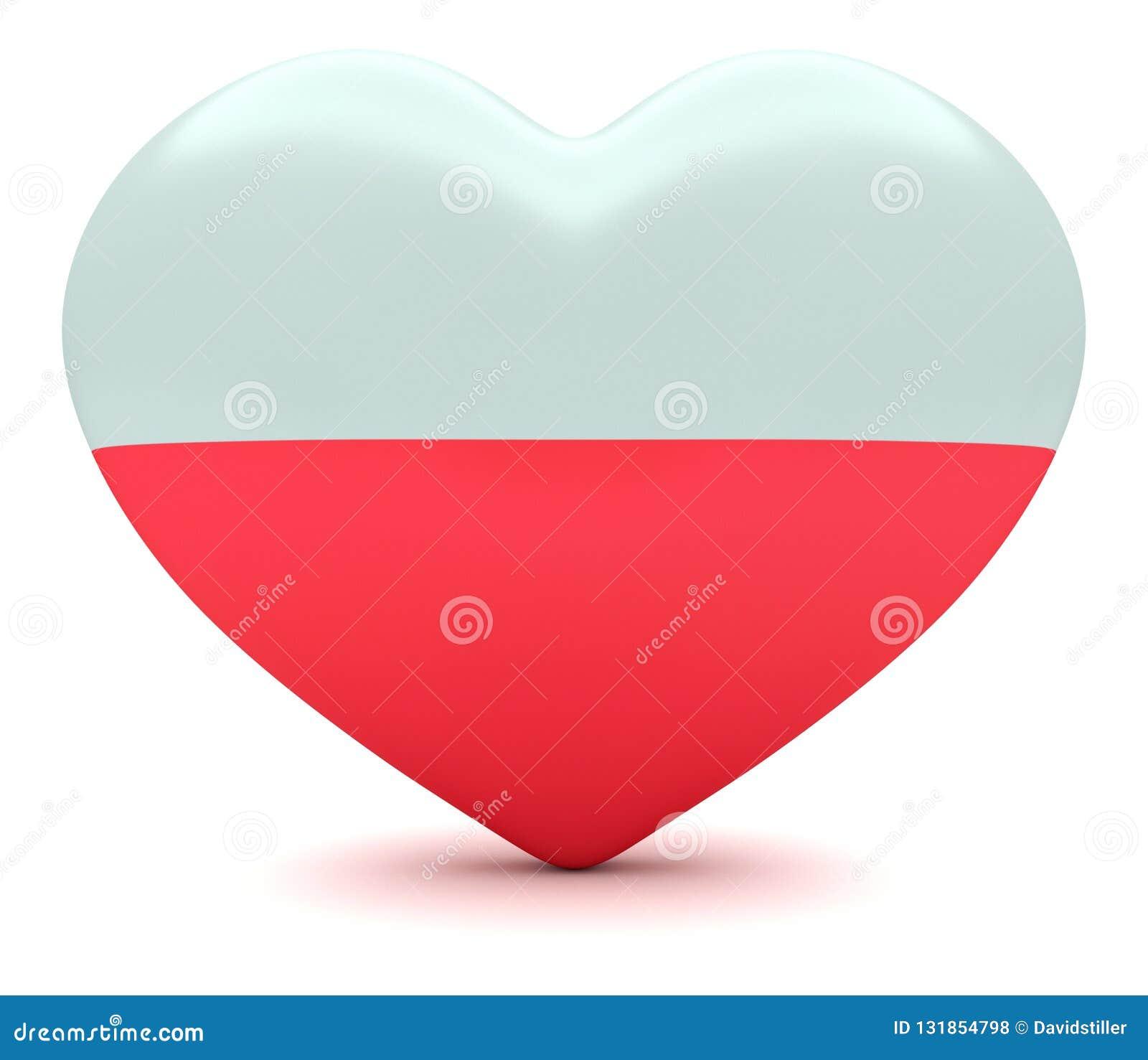 Polish Flag Heart, 3d Illustration Stock Illustration