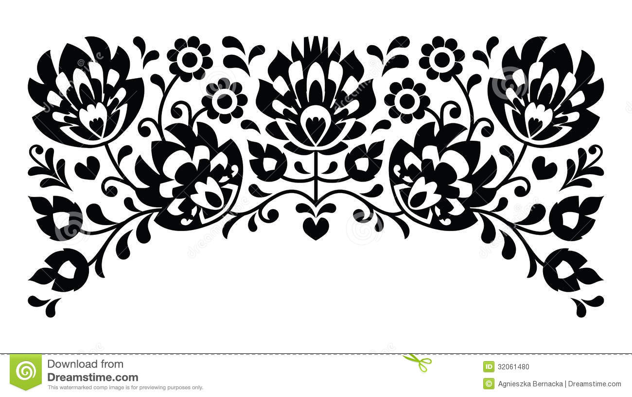 Polish Floral Folk Embroidery Black And White Pattern Stock ...