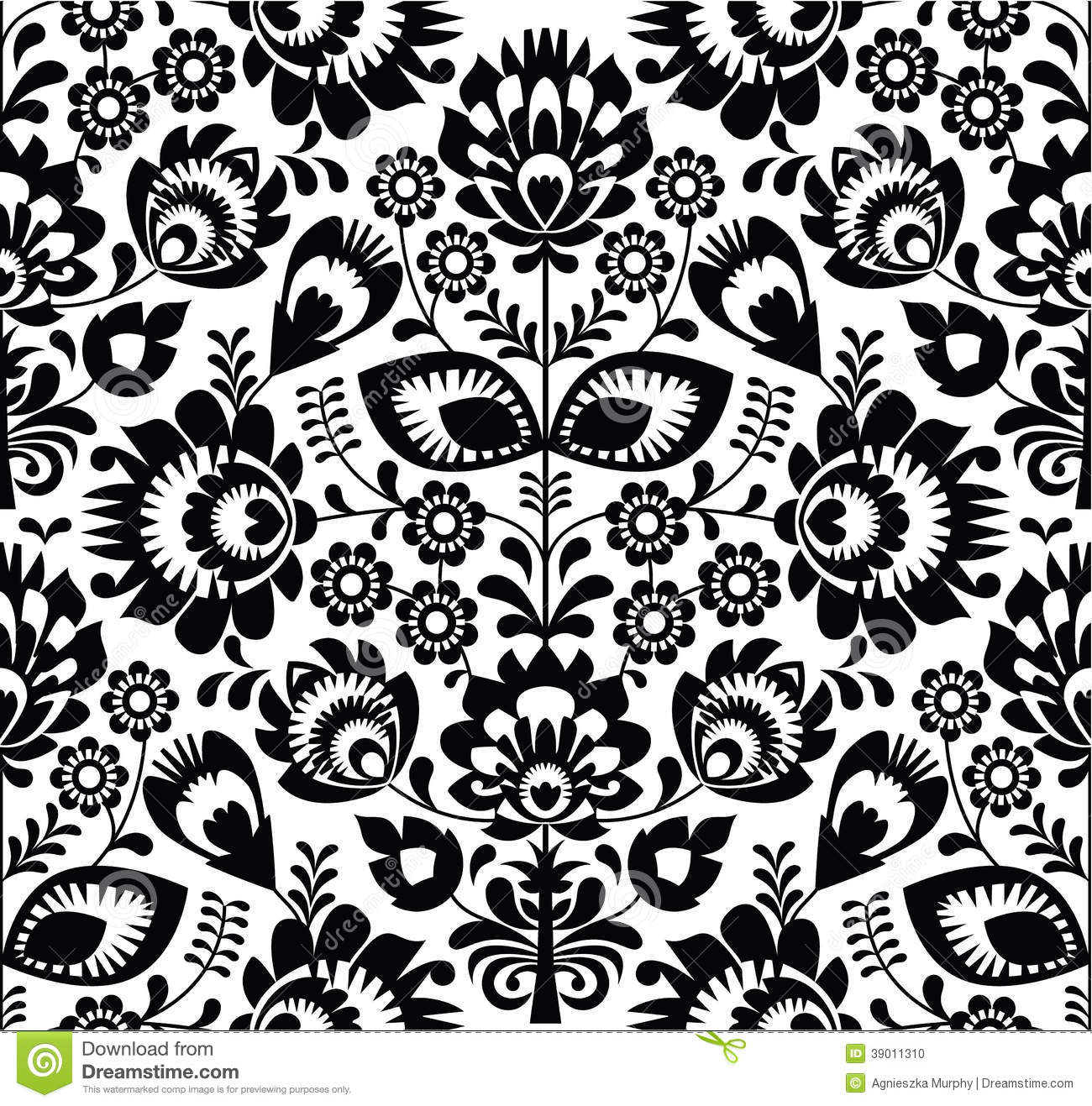 polish folk seamless pattern in black and white stock illustration