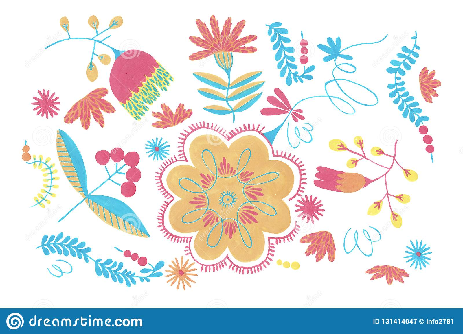Polish herbal pattern with orange flowers decor, traditional Polish folk seamless Pattern with floral illustrations