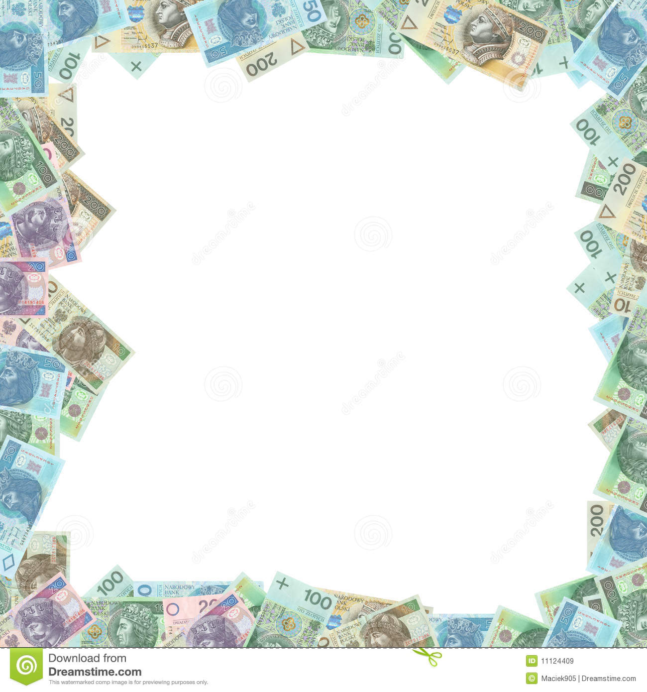 Polish money frame WITH CLIPPING PATCH