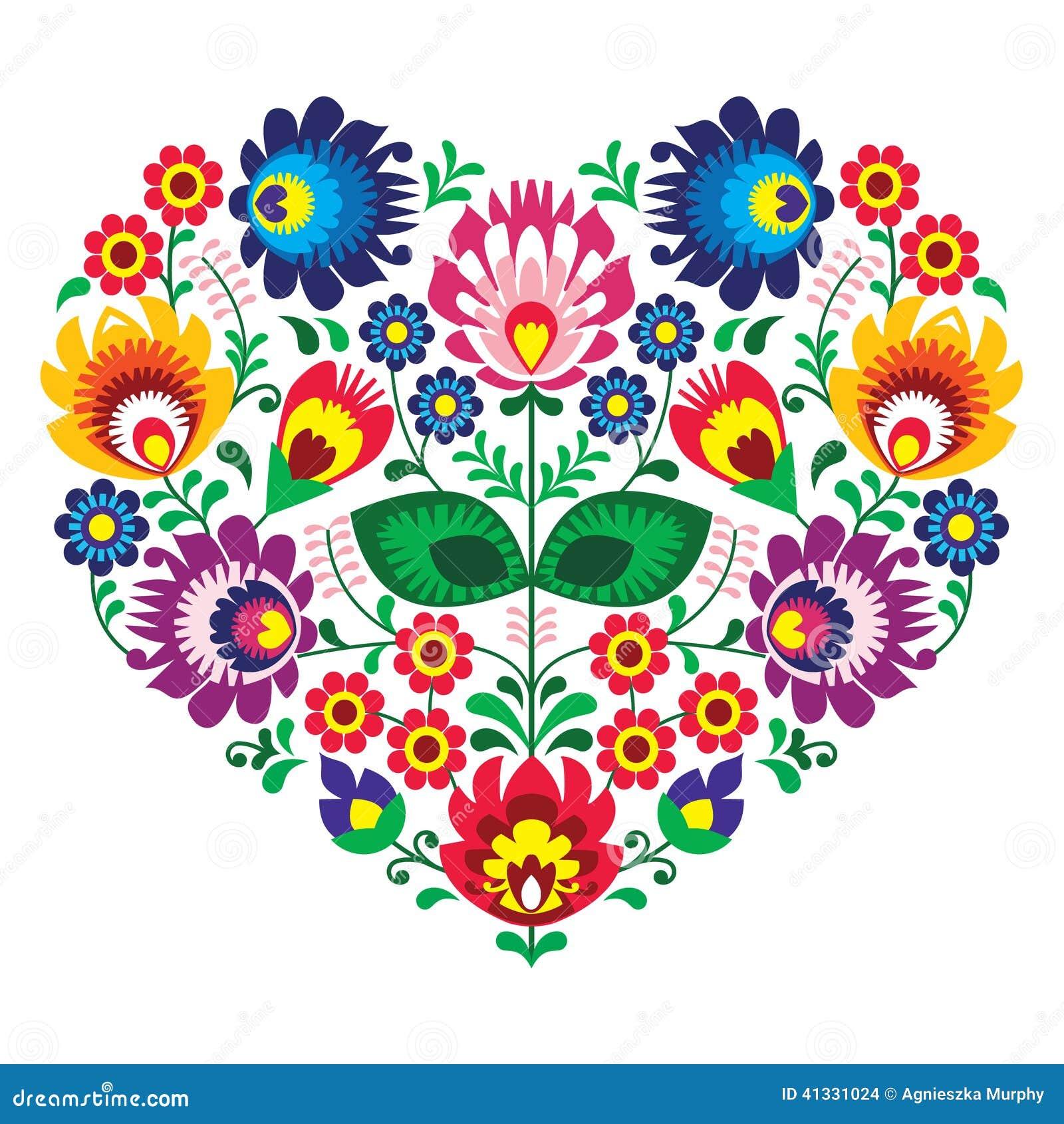 Polish olk art art heart embroidery with flowers - wzory lowickie