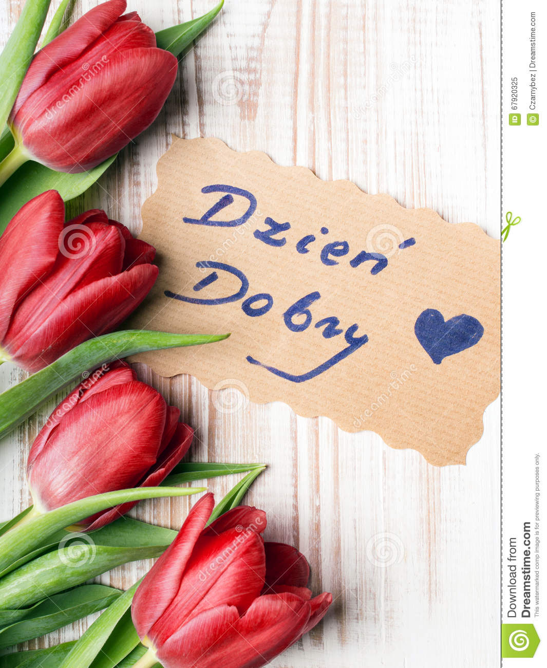 Good Morning Beautiful In Polish : Polish words good morning and bouquet of tulips stock