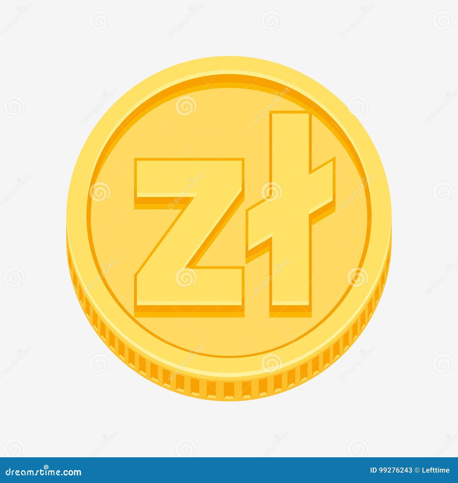 Polish Zloty Symbol On Gold Coin Stock Vector Illustration Of