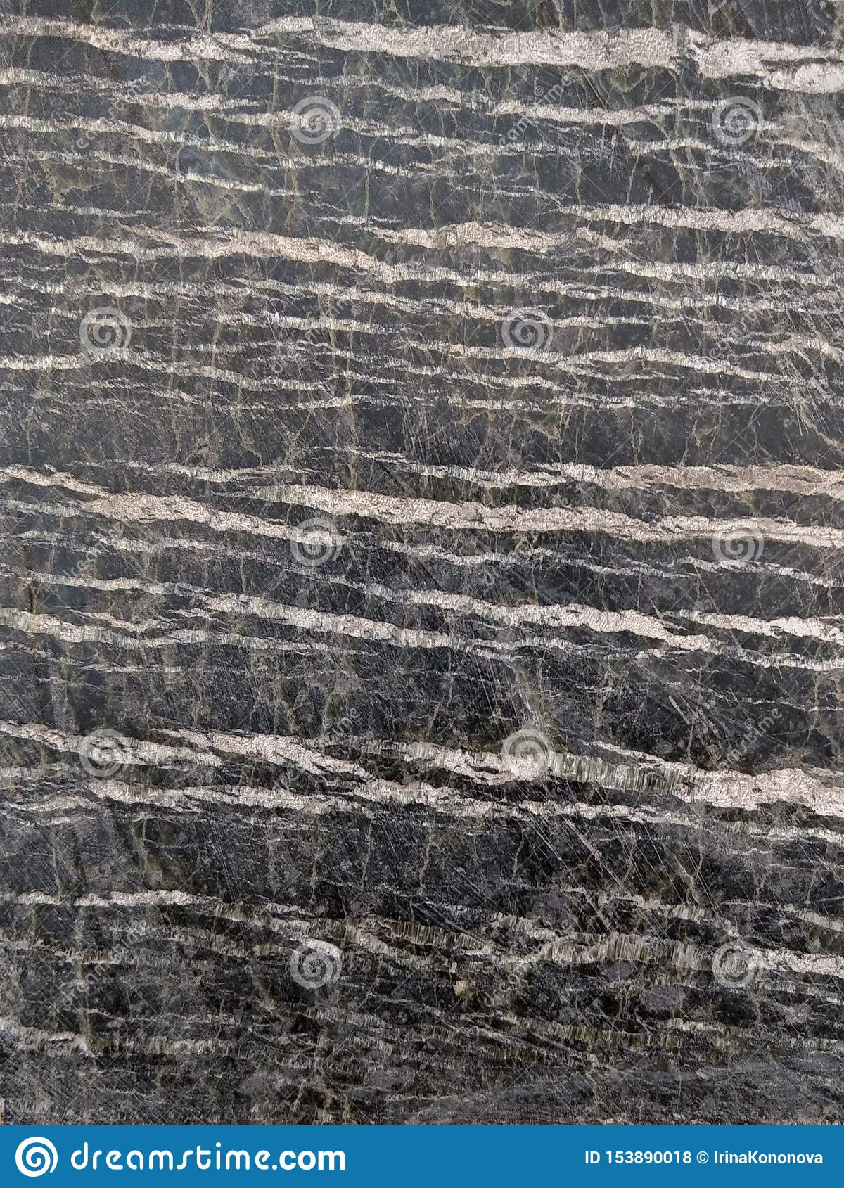 Polished stone serpentine with streaks of asbestos chrysotile. Dark gray with light stripes