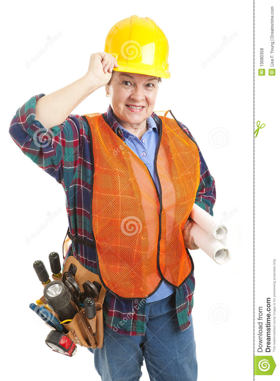 Polite Female Construction Worker Royalty Free Stock