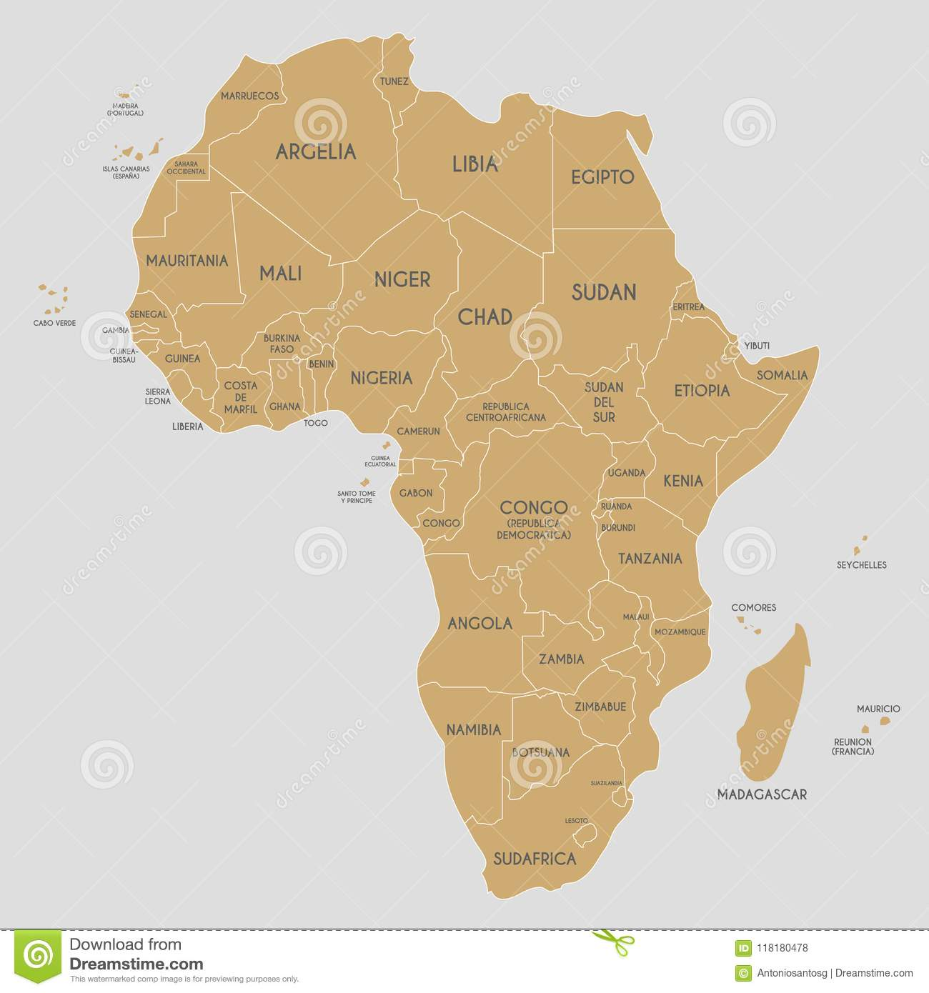 Political Africa Map Vector Illustration With Country Names In