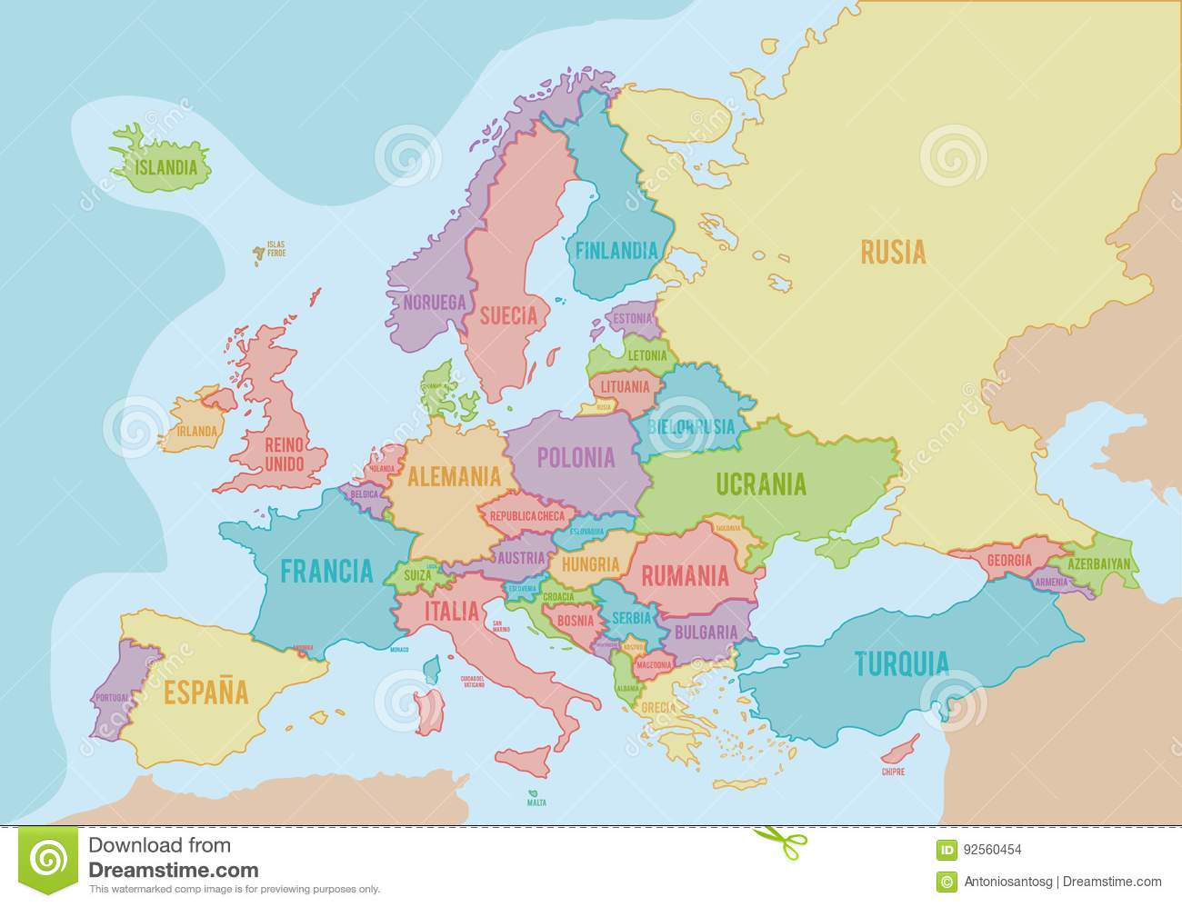 Political Blank Europe Map Vector Illustration. Stock Vector ...