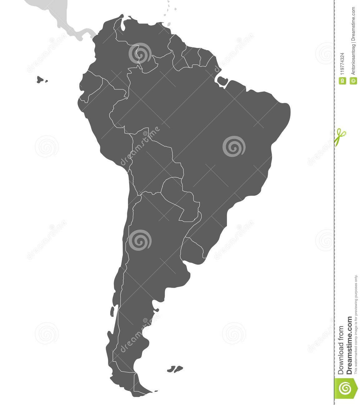 Political Blank South America Map Vector Illustration Isolated On ...