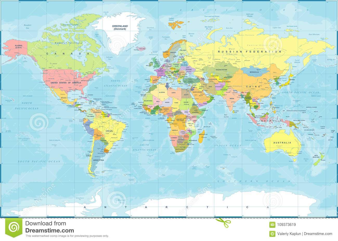 Political Colored World Map Vector Stock Illustration