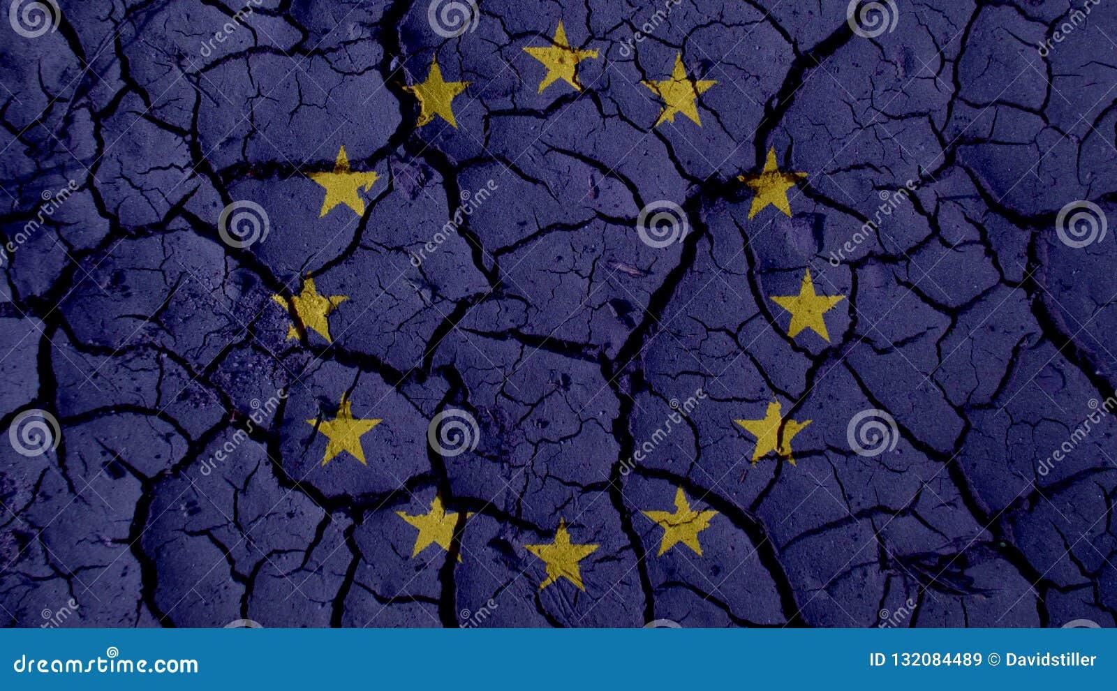 Political Crisis Concept: Mud Cracks With EU Flag