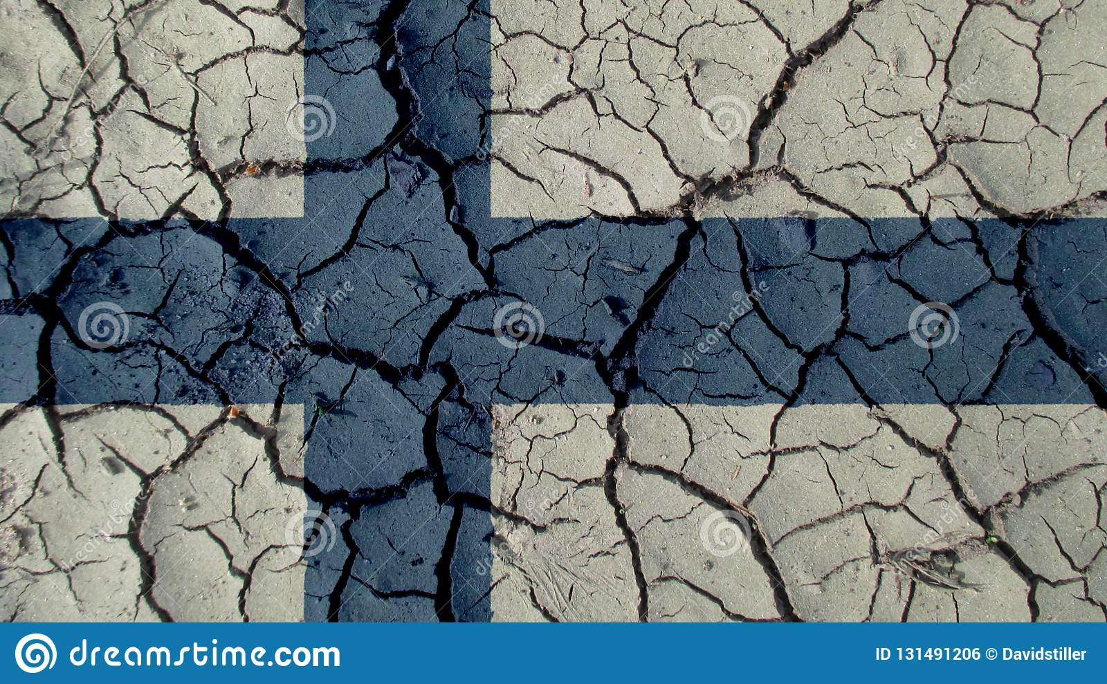 Political Crisis Or Environmental Concept Mud Cracks With Finland Flag