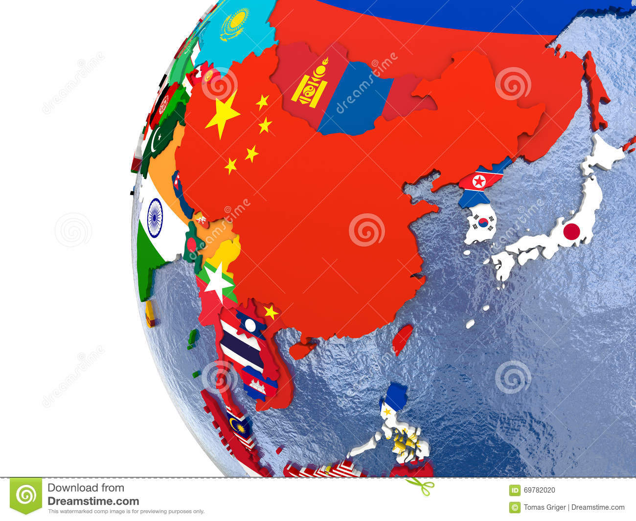 Political east Asia map stock illustration. Illustration of asian ...