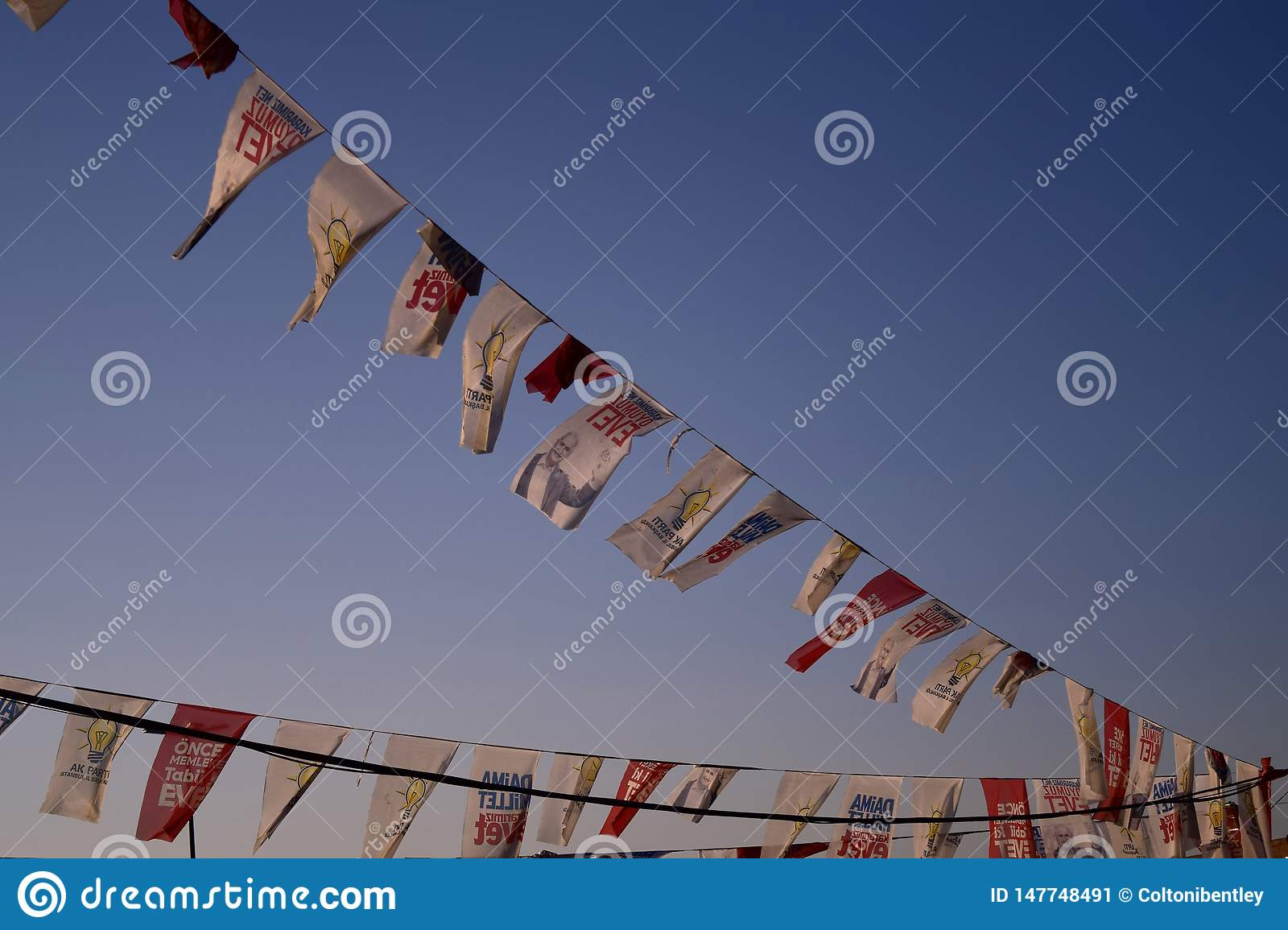 Political flags flying in the coastal winds of Istanbul
