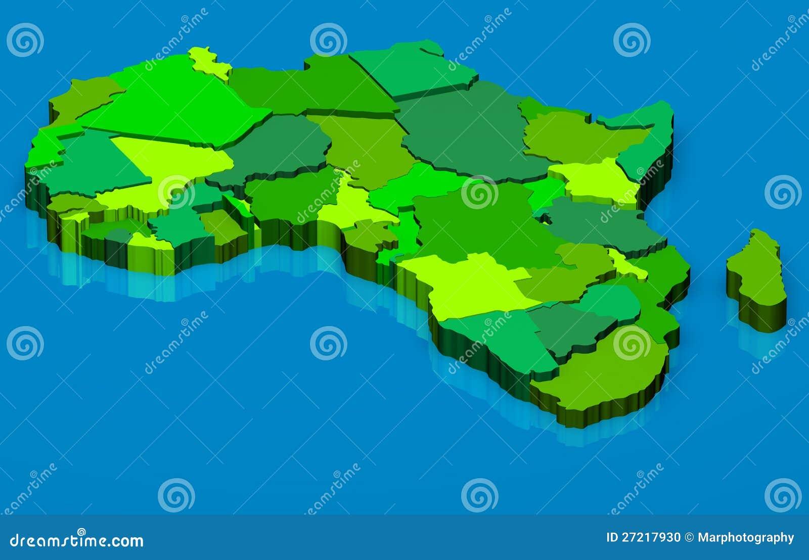 Political map of Africa 3D stock illustration. Illustration of