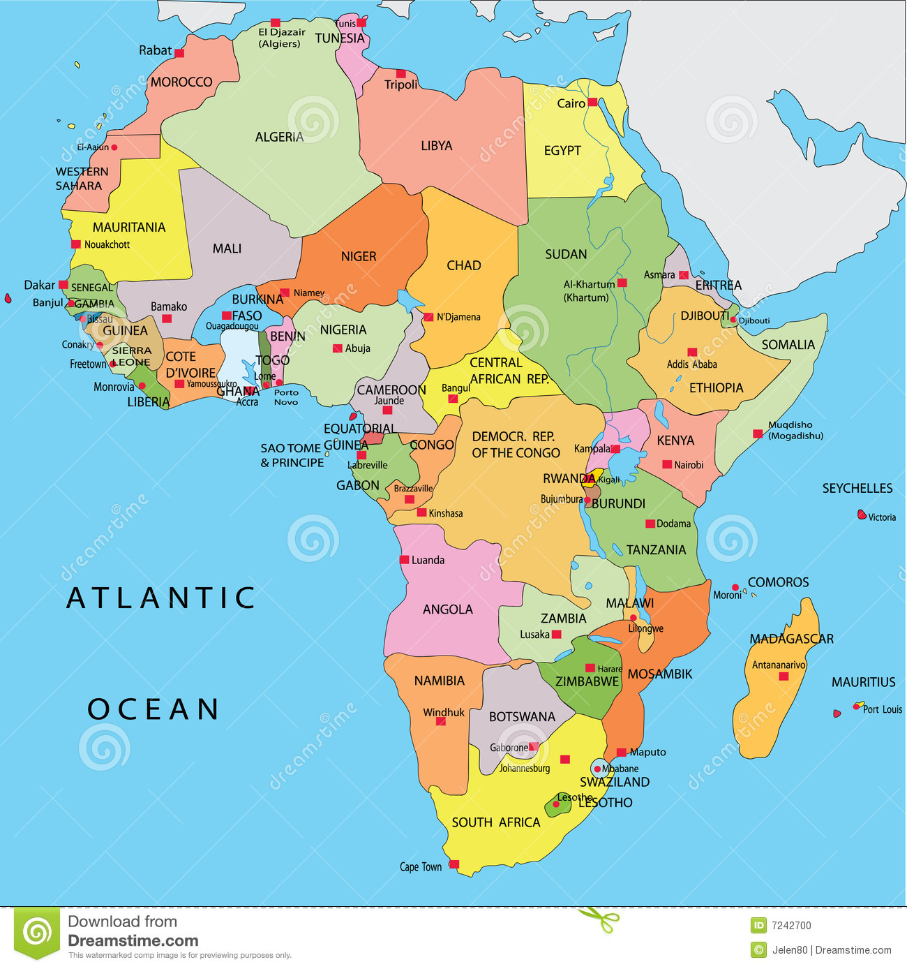 Political Map Of Africa Stock Photo Image 7242700
