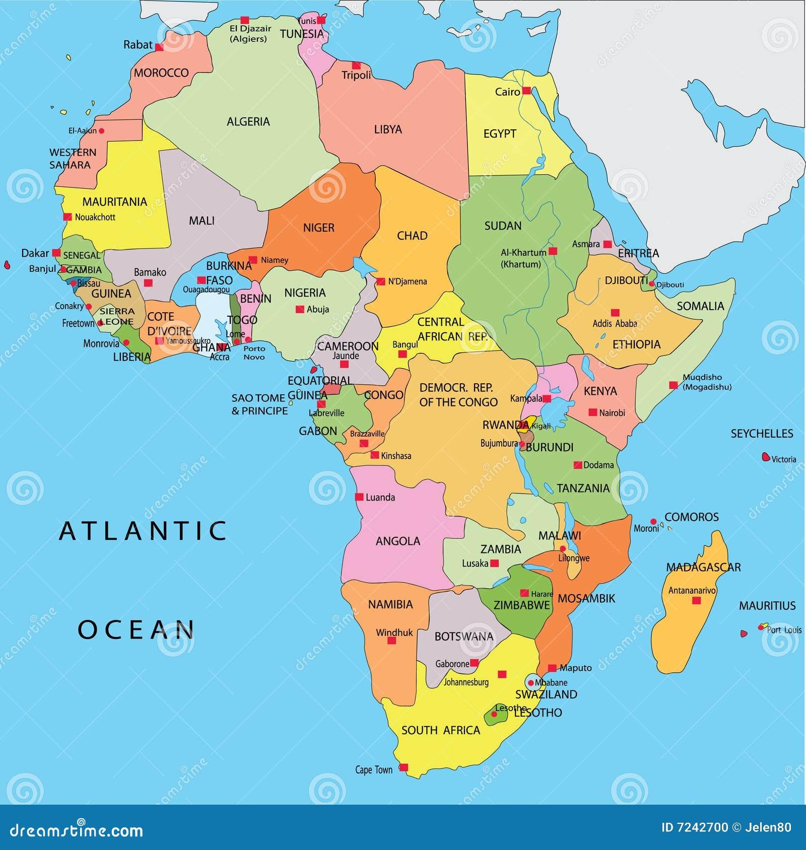 Political Map Of Africa Stock Illustration Illustration Of