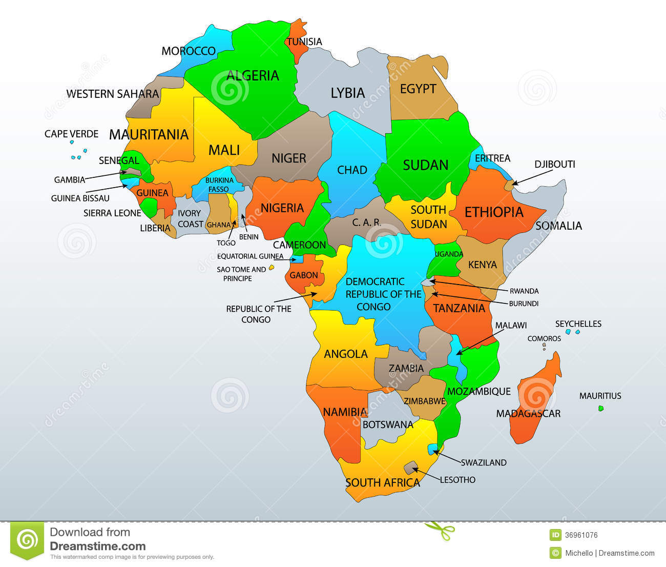 Map Of Africa And Surrounding Countries.Political Map Of Africa Stock Vector Illustration Of Countries