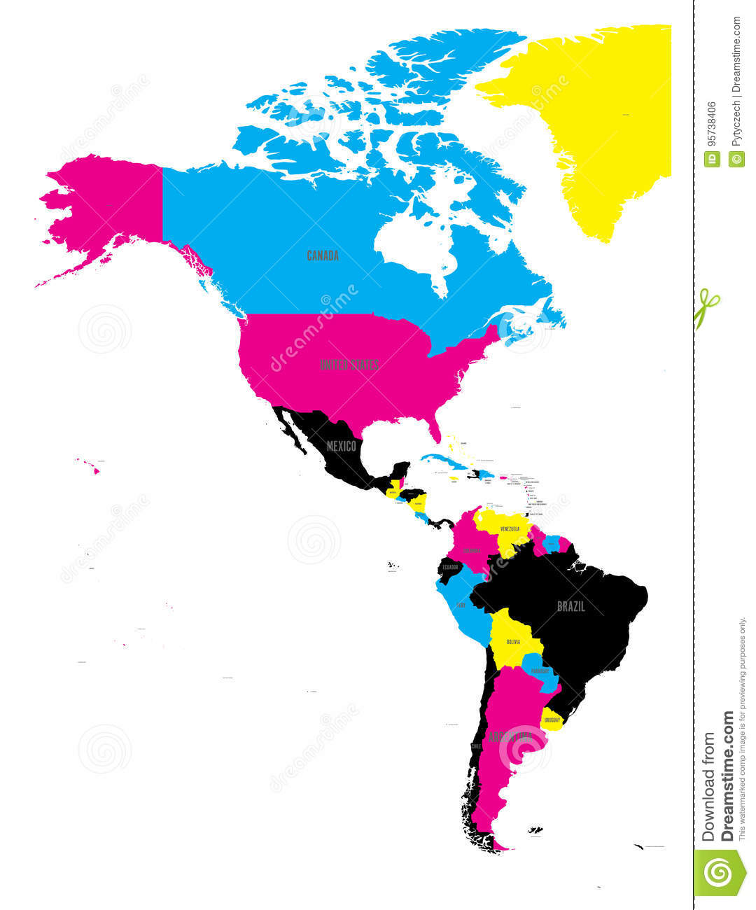 Political Map Of Americas In CMYK Colors On White Background - World map country labels