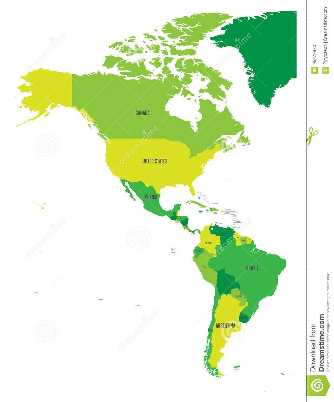political map of americas in four shades of green on white