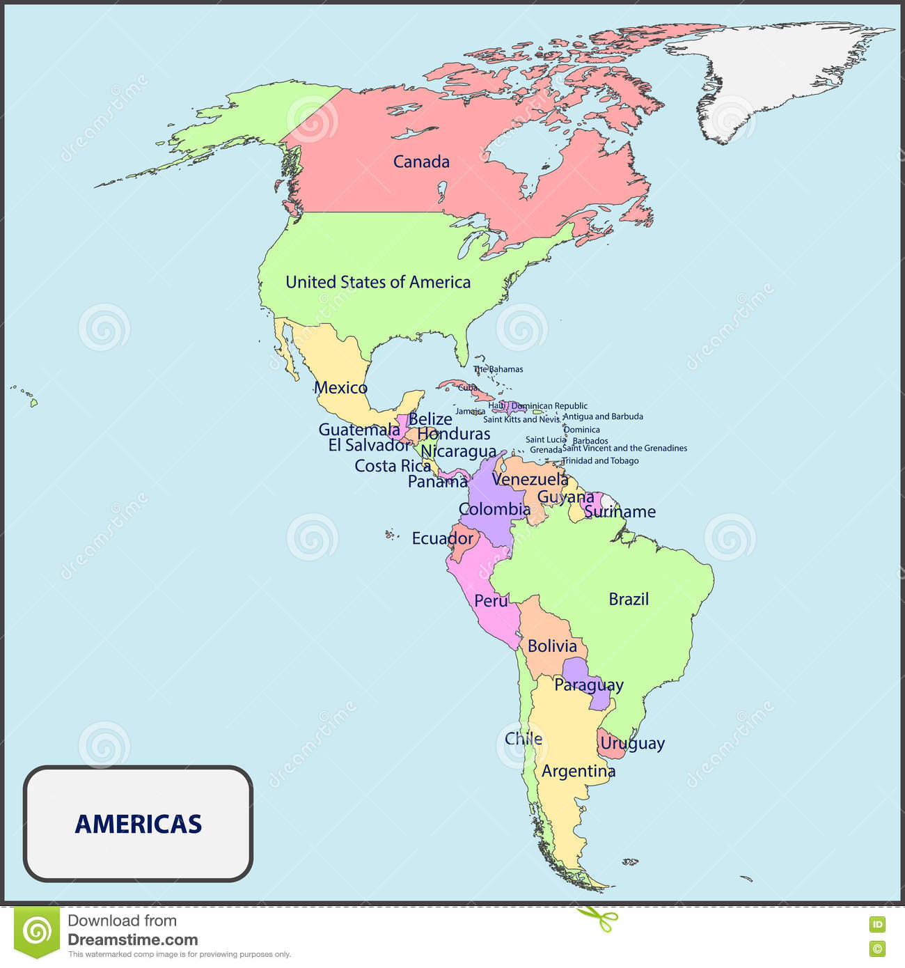 political map of the americas with names stock vector image