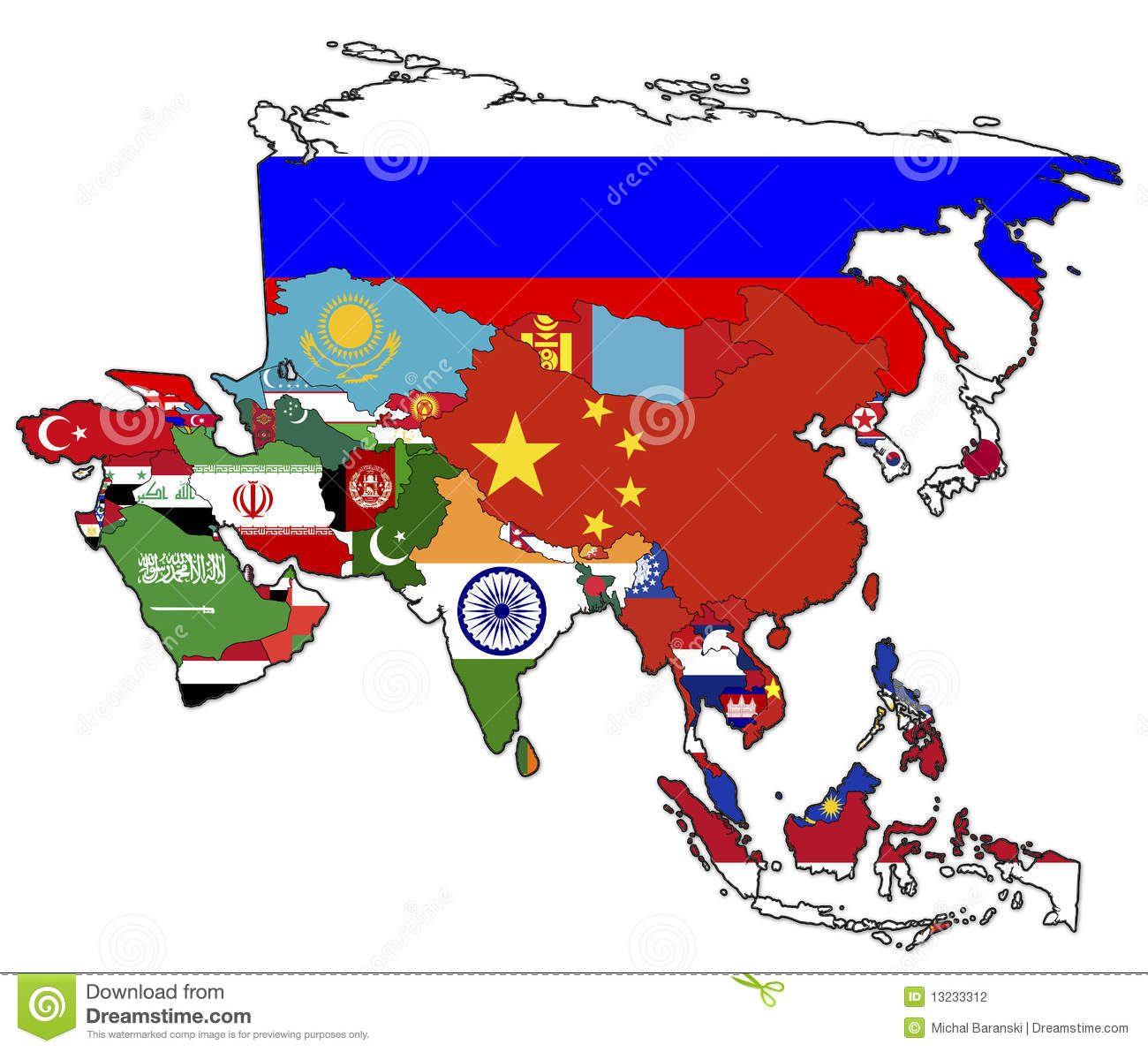 Political map of asia stock illustration. Illustration of holiday ...